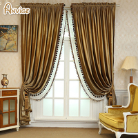 ANVIGE European Luxury Velvet Fabric Blackout Curtains For Living Room High Quality Window Curtain Not Included