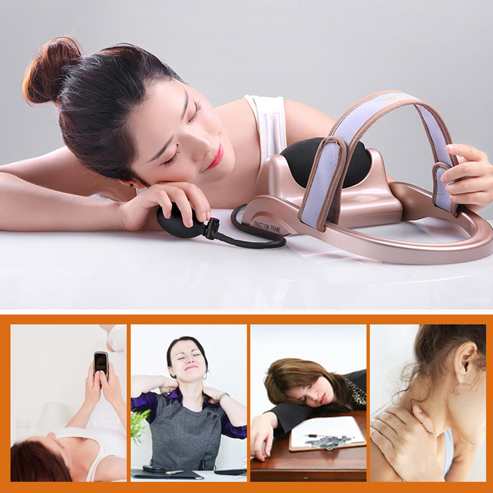 Купить с кэшбэком MHKBD Neck Traction Filled Air Cervical Tractor Portable Posture Pump Relaxing Vertebra Massager Spine Muscle Relief Pain Tools