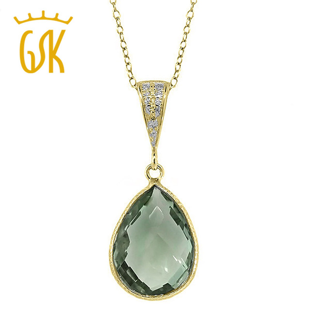 GemStoneKing 16x12mm 6.50 Ct Pear Shape Natural Green Amethyst  Gold Plated Shape Silver  Pendant Necklace For Women