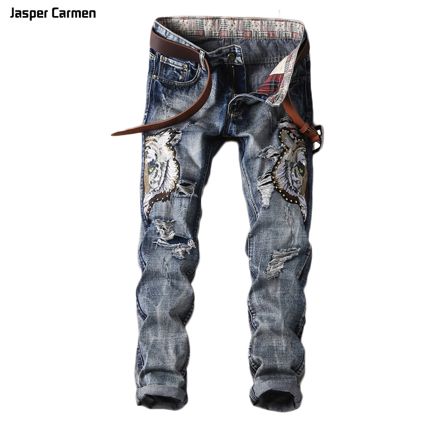 Free Shipping 2017 New design Spring Casual Brand Men Slim Jeans male Cotton Straight Pants Long denim Trousers 100z