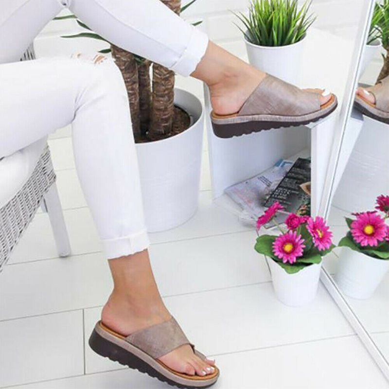 HTB1GS3ScRiE3KVjSZFMq6zQhVXaO Women PU Leather Sandals Flip Flops Woman Shoes Platform Flat Sole Casual Orthopedic Bunion Corrector Ladies Foot Correction