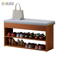 Wooden Entrance shoe bench With cushion Living room shoe cabinet fashion Shoe rack Dining table chair Furniture