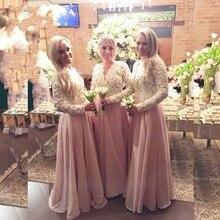2016 Bridesmaid Dresses V Neck Long Sleeve Lace Appliques Chiffon A Line Floor-Length Vestido De Festa Robe Demoiselle D'honneur