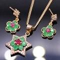 Mujeres de la manera Sistemas de La Joyería de Oro de Champán Plateó Zirconia Cúbico Rojo Con Verde Creado Gemas Anillo Pendientes Collar Colgante Conjunto