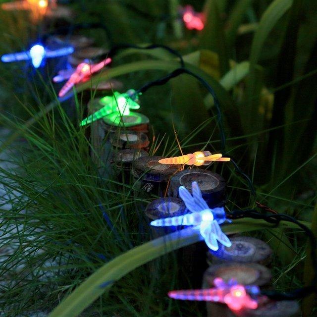 outdoor dragonfly solar string lights 20 led christmas trees fairy light decoration lights for garden - Led Christmas