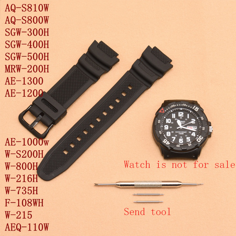 Watch Accessories 18mm For Casio MRW-200H|W-752|w-s210H|W-800H|W-735H Men's And Women's Sports Waterproof Resin Watch Strap