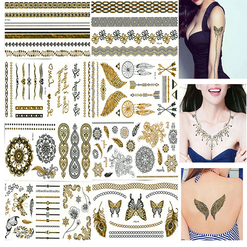 8Pcs Body Paint Makeup Gold Tattoo Flash Tattoos Temporary Tattoo Makeup Metallic Tatto Body Bronzer Waterproof Temporary Tattoo flash gold
