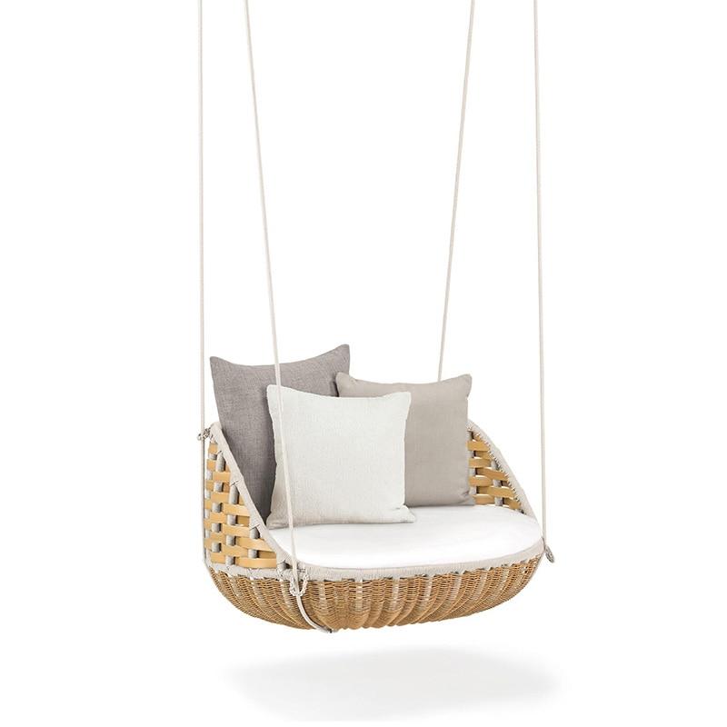High Quality Outdoor Or Indoor Leisure Swing Sofa  Hanging Baske PE Rattan Hanging Chair Leisure Hanging Basket Rocking Chair