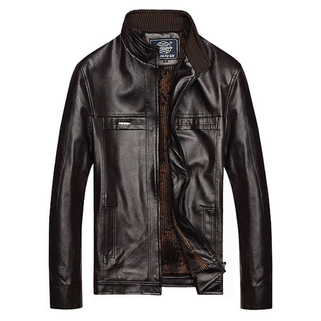 Boutique Men's Winter Thicken Jacket Keep Warmth Solid Color Brown Casual Fashion Motorcycle Leather Jacket Plus Size L~4XL