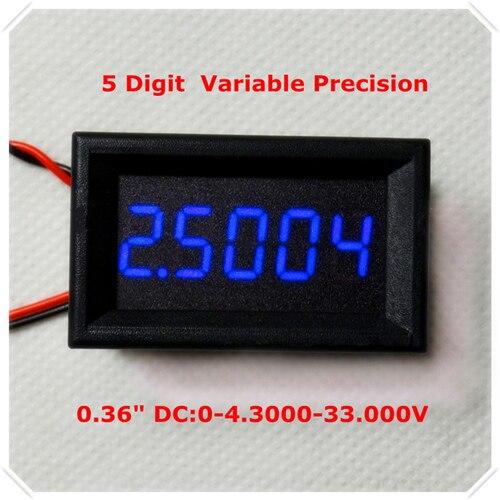 """RD 4 провода 0,3"""" точность переменной постоянного тока 0-33 в цифровой вольтметр напряжение Панель метр светодиодный дисплей Цвет [4 шт./лот] - Цвет: BLUE"""