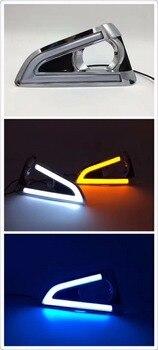Qirun led drl daytime running light for TOYOTA Reiz with yellow turn signals and blue night running light
