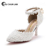 LOUCHUNLAN White Pearl Lace bridal Shoes pointed Toe Thin Heels Wedding Shoes 7cm belt Female Adult sandals Free Shipping