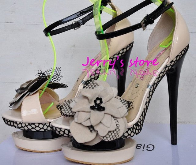 Free Shipping Sexy Women Luxry Peep Toe High Heels Sandals Double Platforms Beautiful Flower Dress Party shoes Wholesale G-026