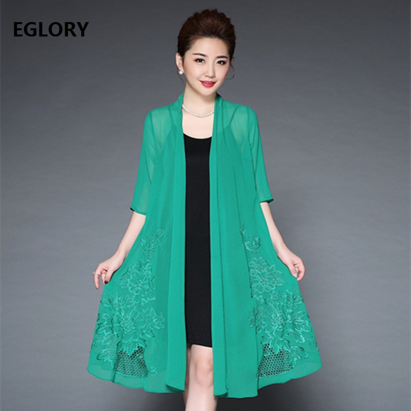 Plus Size Women's Clothing Dress Summer 2018 Hollow Out Embroidery Dress Female Elegant Brides Mother Cape Party Sexy Dresses