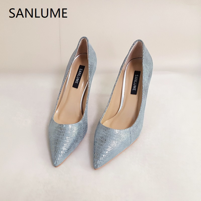 SANLUME 9 5CM Women Sexy Pointed Toe Genuine leather High heels Gray party Wedding shoes Lady
