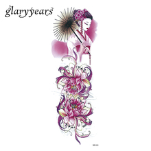1 Piece Full Flower Arm Tattoo Sticker Water Transfer Lotus Geisha Design Body Art Temporary Big Large DIY Tattoo Sticker DZ-113