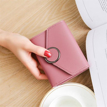 цена на 2019 Wallet Women High Quality PU Leather Women's Short Wallet Student Fashion Money Bag Card Wallet Solid Color Purse