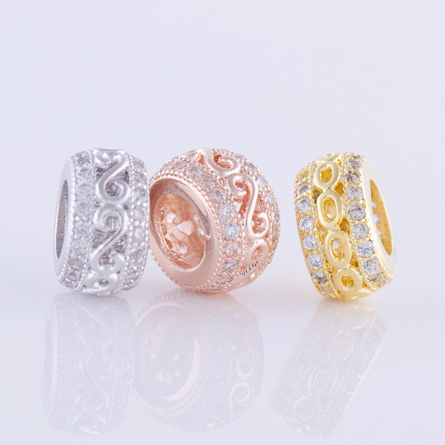 jewelry making supplies top quality copper metal micro pave zircon large  hole beads diy accessories bracelet necklace findings d0bae632faa3