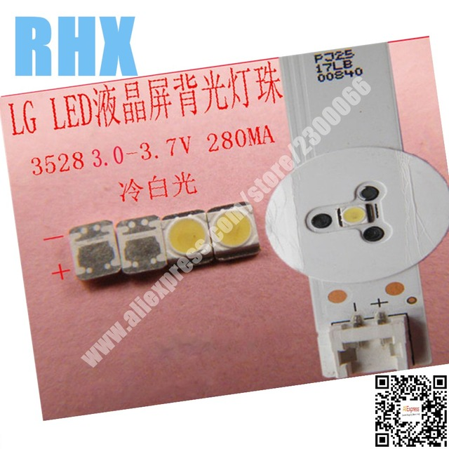 200piece/lot  FOR  3528/2835 3V 280MA 1W Cold White LED Diodes for LG LCD TV Backlight Repair