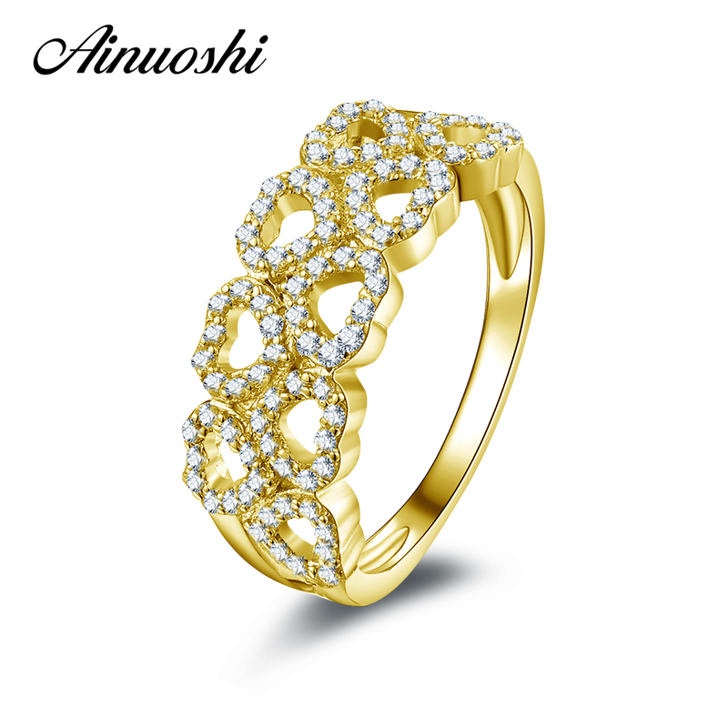 все цены на AINUOSHI 10k Solid Yellow Gold Wedding Ring Heart Shape Hollow Anillos Mujer Jewelry Simulated Diamond Engagement Ring for Women онлайн