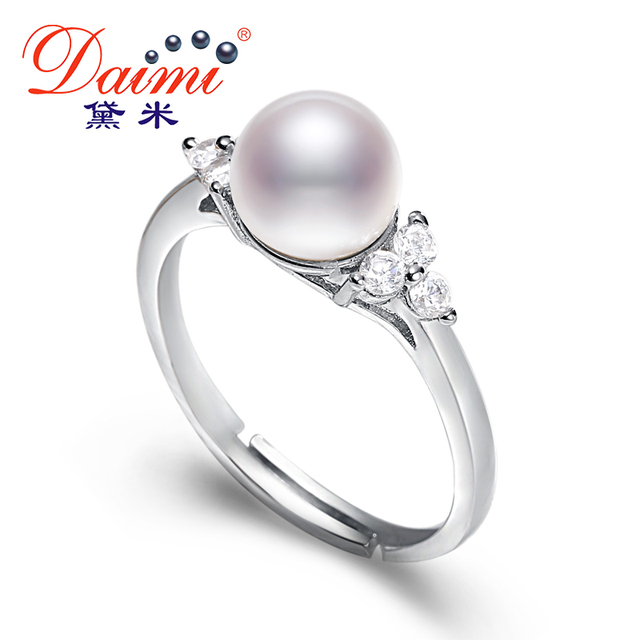 DAIMI 7-8MM White Freshwater Pearl Ring Shiny Crystal Silver Ring Gift For Women Natural Pearl Ring Brand Jewelry