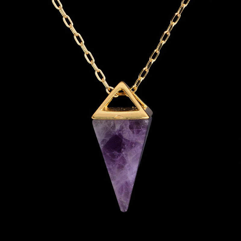 handmade healing crystal necklace real pyramid necklace