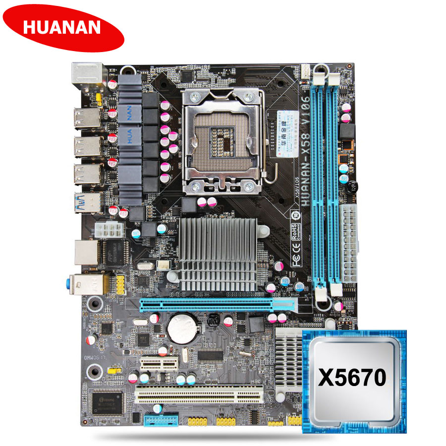 New arrival HUANAN ZHI X58 motherboard CPU set USB3.0 X58 LGA1366 motherboard with CPU <font><b>Intel</b></font> Xeon <font><b>X5670</b></font> 2.93GHz 2 years warranty image