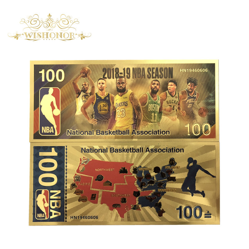 1Pcs Nice America NBA All Star Banknotes 100 Dollar Bills Banknote in 24K Gold Plated Paper Money For Gifts