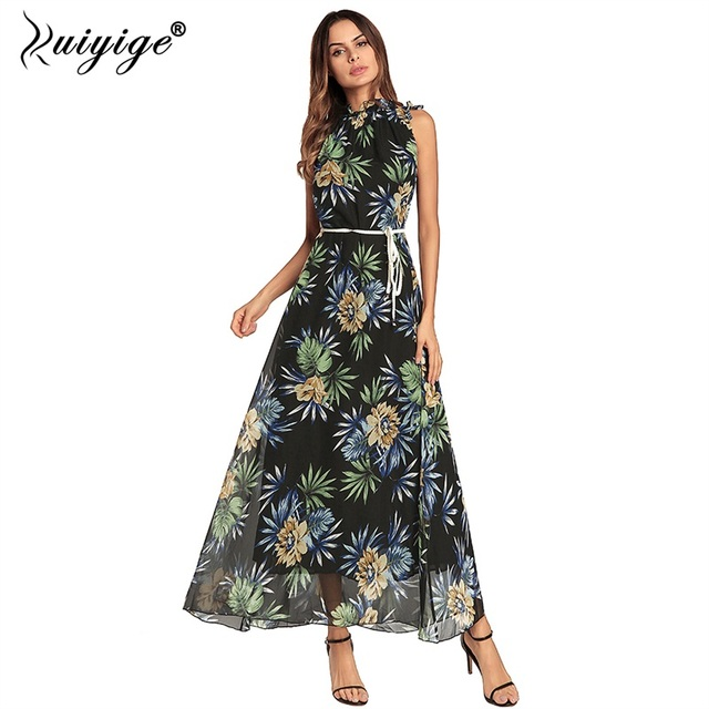 1e9126a98b7ac Ruiyige Women Halter Dress Summer Floral Print Maxi Dresses Long Beach  Floor Length Off Shoulder 2018 Casual Boho Belt Vestidos -  www.beautitopia.com