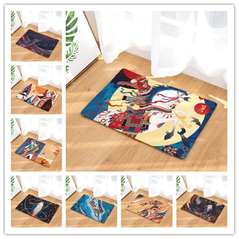 Flannel Floor Mats Myth Printed Bedroom Living Room Carpets Cartoon