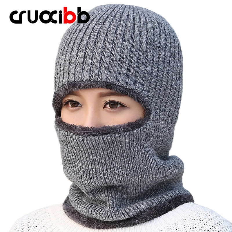 Brand Winter Hat Women Beanie with Scarf Men Face Masks with Skull Knitted Fur Hats Unisex Snow Cap Ski Caps Soft Warm New novelty women men winter warm black full face cover three holes mask beanie hat cap fashion accessory unisex free shipping