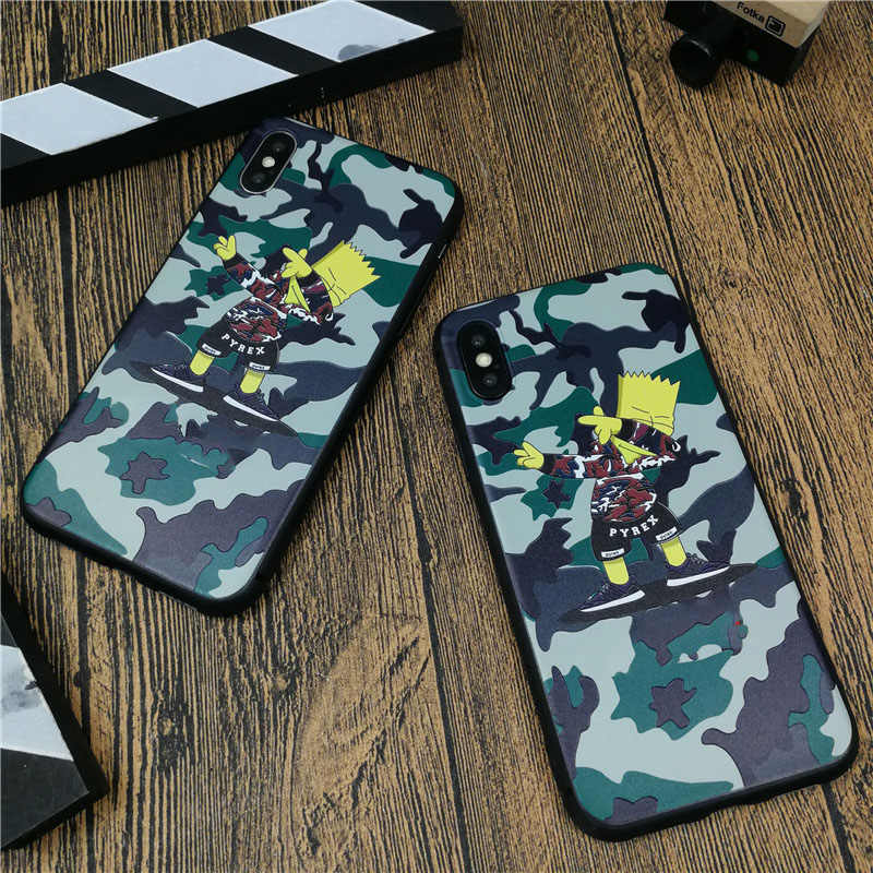 Camo Cute Tide cartoon boy phone cover case for iphone X XS MAX XR 10 8 7 6 6S plus soft 3D relief silicone fashion coque capa