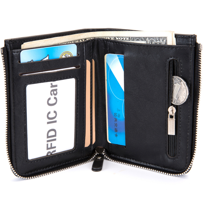 Business Men Wallet RFID Blocking Protection Anti-Theft Scan Men Short Wallet Zipper Coin Case Pouch Casual Leather Money Purse 3