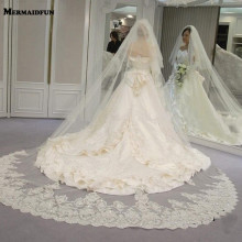 Wedding-Veil Blusher-Cover Face-Cathedral 2-Tiers Comb Lace Sequined with New Shining