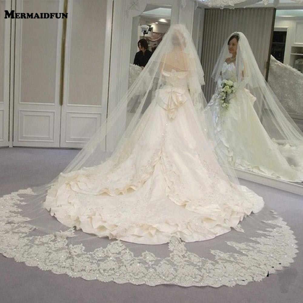 2019 echt Fotos Qualität 2 Tiers Rouge Abdeckung Gesicht Kathedrale Glänzende Pailletten Spitze Hochzeit Schleier mit Kamm Neue Braut schleier