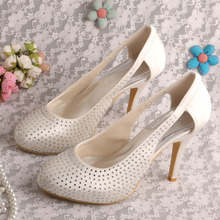 Wedopus MW322 Wedding Sandals Rhinestone Shoes for Women Platform Ivory Satin Peep Toe