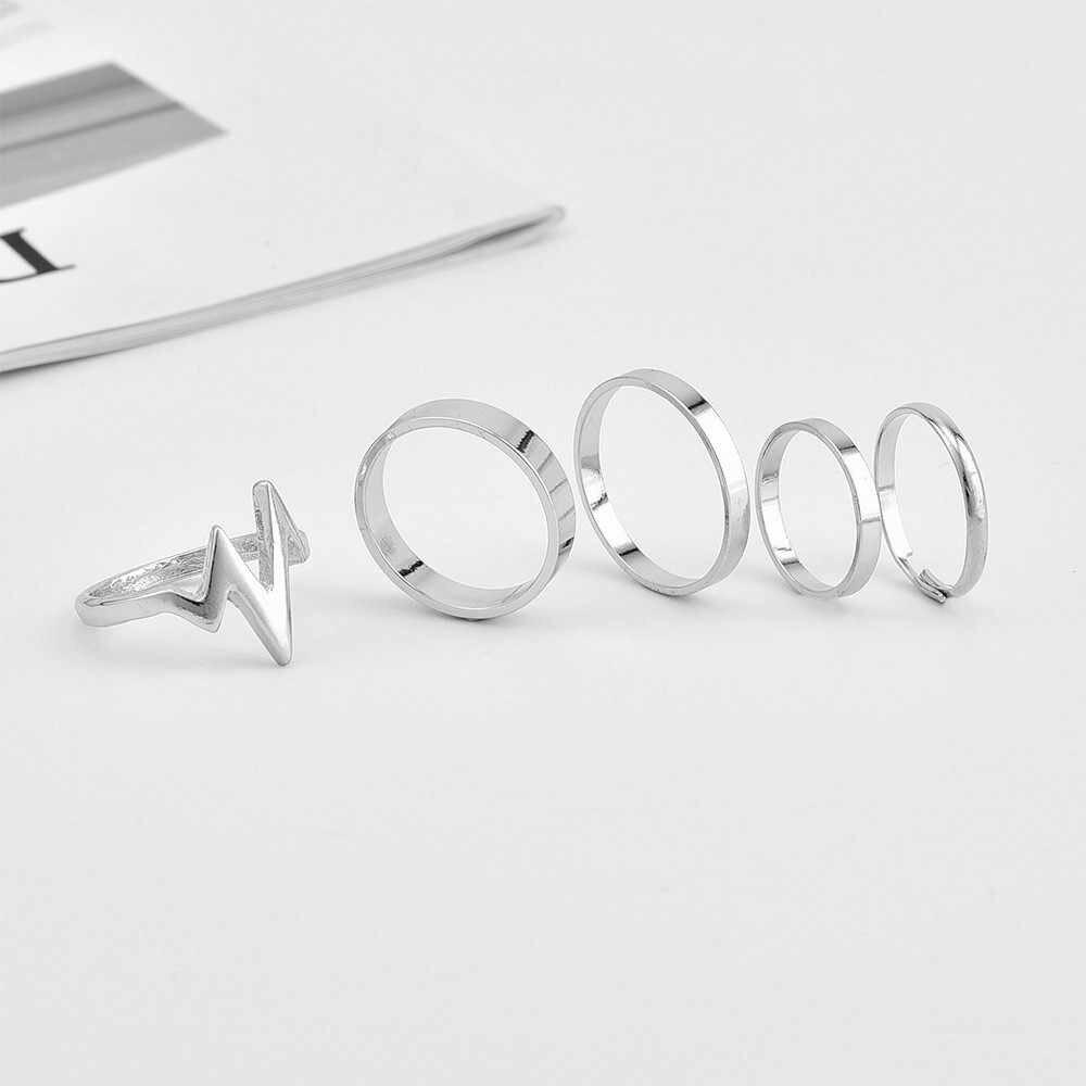 2018 ใหม่แฟชั่นอินเทรนด์เครื่องประดับ Lightning คลื่นชุดแหวนนิ้วมือของขวัญผู้หญิงขายส่งแหวน Joias Aneis