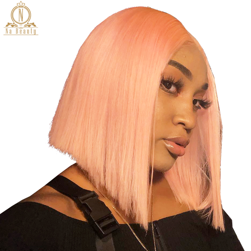 13x6 Transparent Lace Frontal Human Hair Wigs Full Pink Ombre Color Clear Lace Wigs Brazilian Non Remy Hair Wig 150% Pre Plucked
