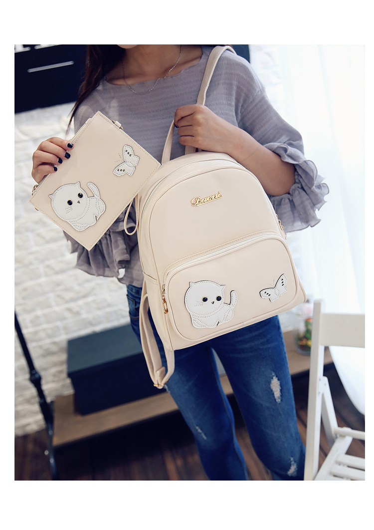Cat Printed Women Leather Backpacks For Teenage Girls Cute Cartoon Youth School Shoulder Bag Bagpack Preppy