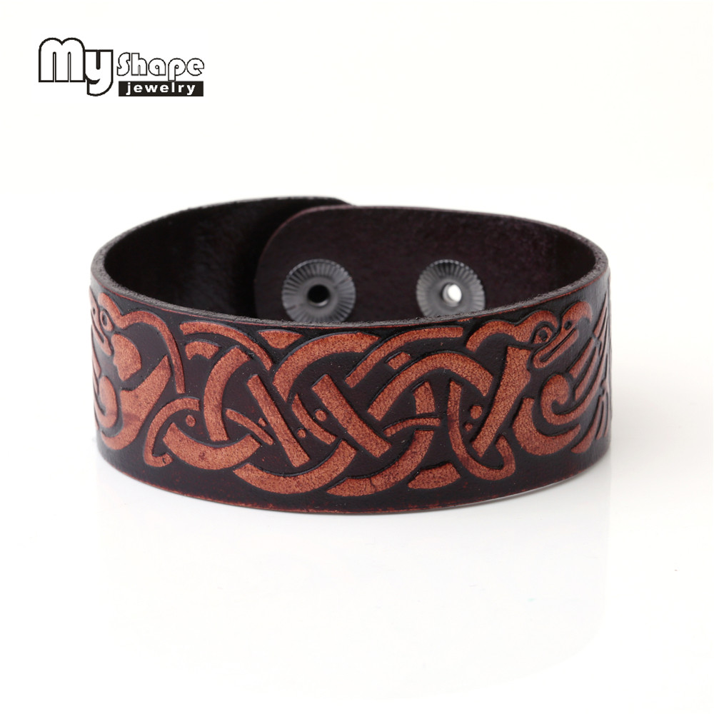 my shape Traditional Chinese Knot General Leather Bracelet For Women Double Safe Snap Button Jewelry Custom bangles 2017