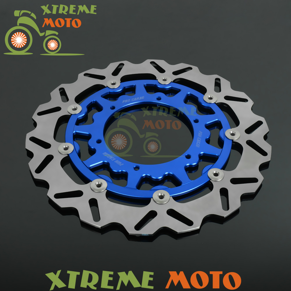 Blue 320MM Front Wavy Floating Brake Disc Rotor For Yamaha YZ250 250F 426F 450F WR250 250F 426F 450F Enduro Motocross Supermoto keoghs real adelin 260mm floating brake disc high quality for yamaha scooter cygnus modify