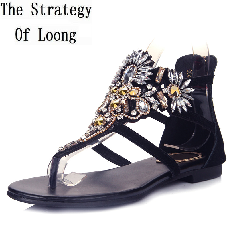 Women 2016 Summer New Flat Heel Corium Rome Style Fashion Sandals Toe Rhinestone Cover Heel Big Size 40 41 Casual Sandals