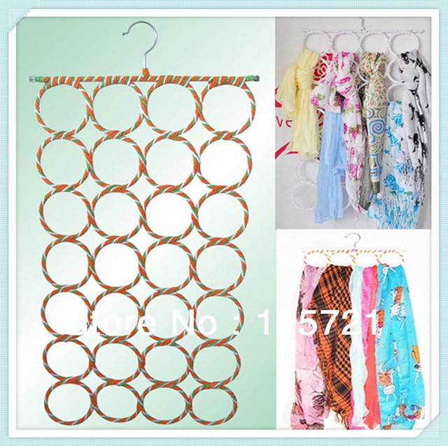 Free Shipping ! 2pcs/lot best selling metal round hole rack scarf multifunction hanger / tie rack porous, magic scarf rack