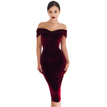 цена на 2019 New Women Velour Dresses Autumn Off Shoulder Burgundy V-neck Velvet Bodycon Sexy Midi Dress Vestidos de Festa Solid Color