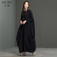 GUTU 2017 Autumn And Winter New Art Linen Large Size Long Sleeves Solid Collar The