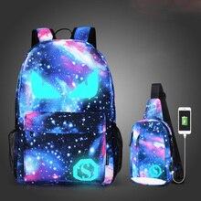 Растерянная овечка, школьные сумки для девочек, для мальчиков, USB, Противоугонный, Светящийся рюкзак, для подростков, водонепроницаемый, звездное небо, сумка, Снова в школу, сумки для ноутбука
