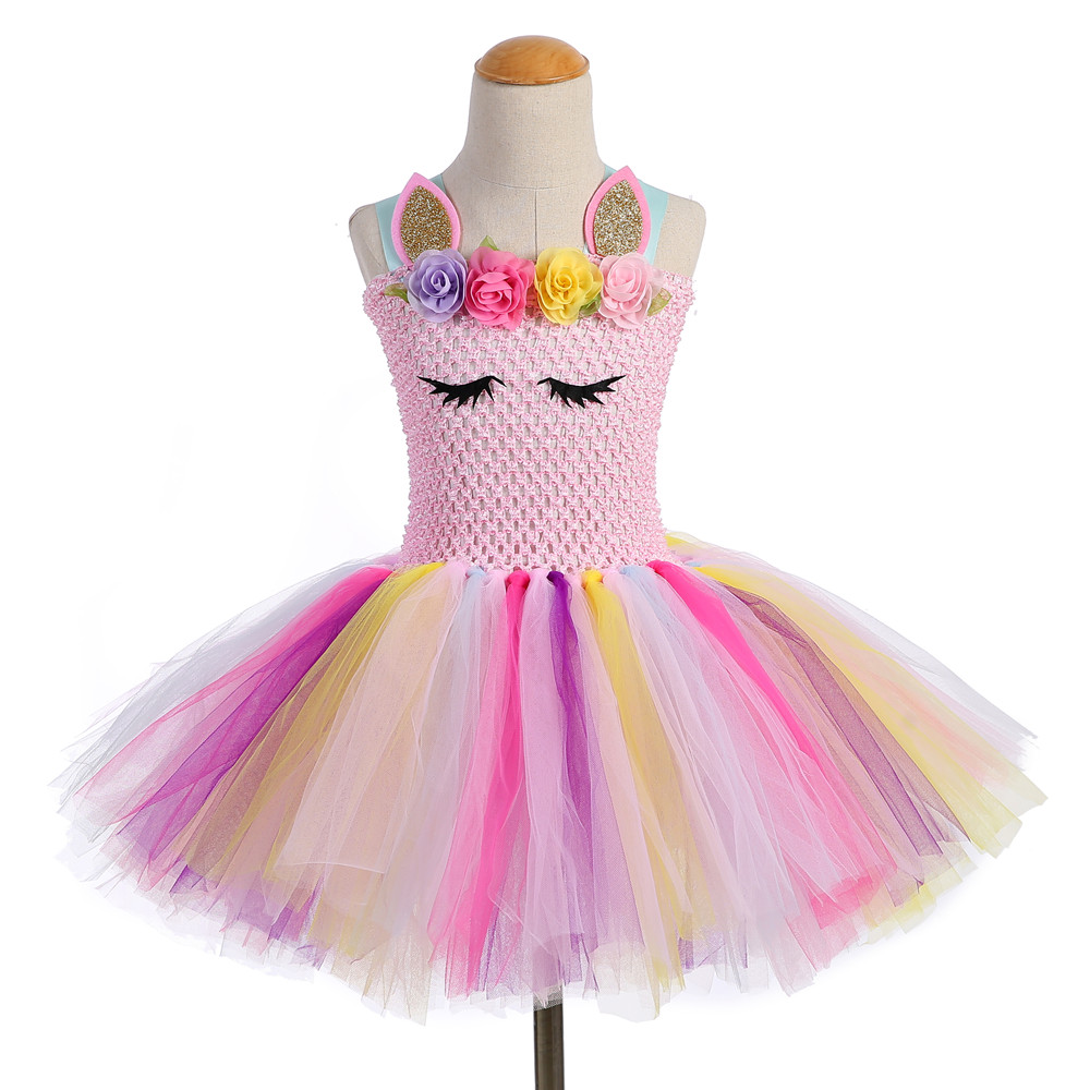 Pastel Kids Unicorn Tutu Dress for Little Girl First Birthday Party Knee Length  Dresses Halloween Adorable ... 366bf11c3779