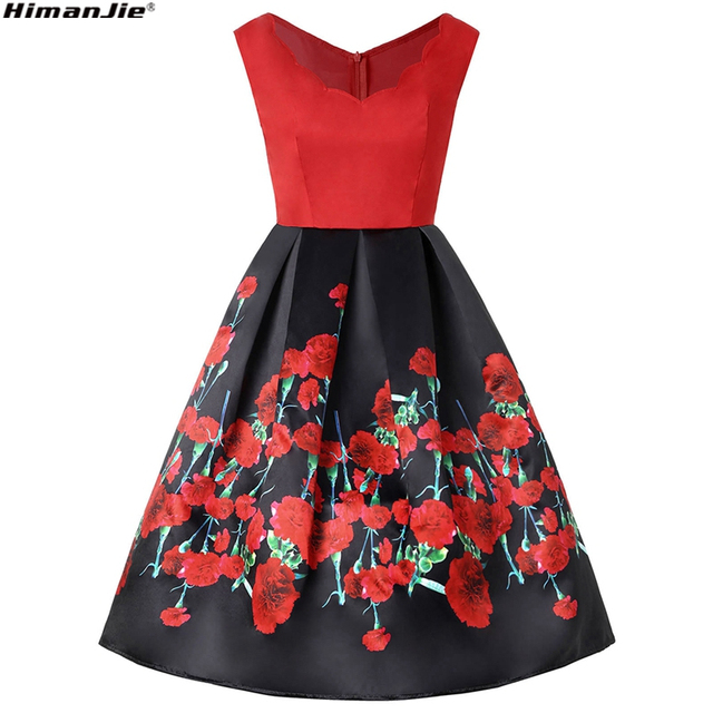 Summer Women Classic Black Red Rose Print Vintage Dress 50s 60s Rockabilly  V Neck Sleeveless Retro Big Swing Party Dresses 4d83aaa1693c