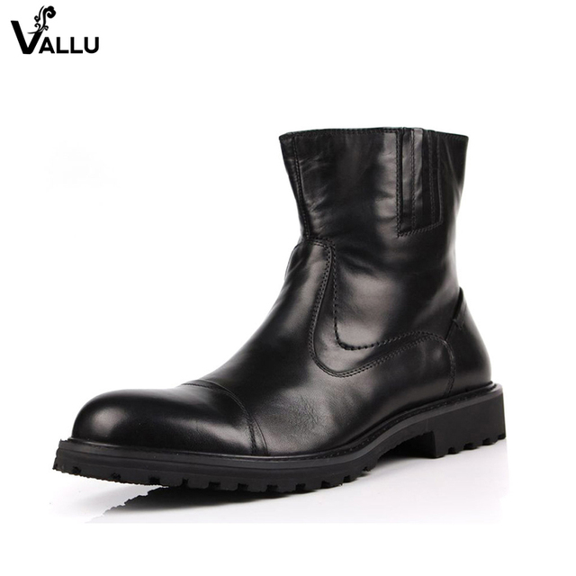 British England Style Stylish Men Boots Natural Leather Round Toe Chunky Heel Male Ankle Booties Comfortable New Mans Shoes