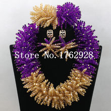 Luxury Purple Crystal Beads Chunky Statement Necklace Set Full Beads Cluster Big Gold African Jewelry Set Free Shipping C000942(China)